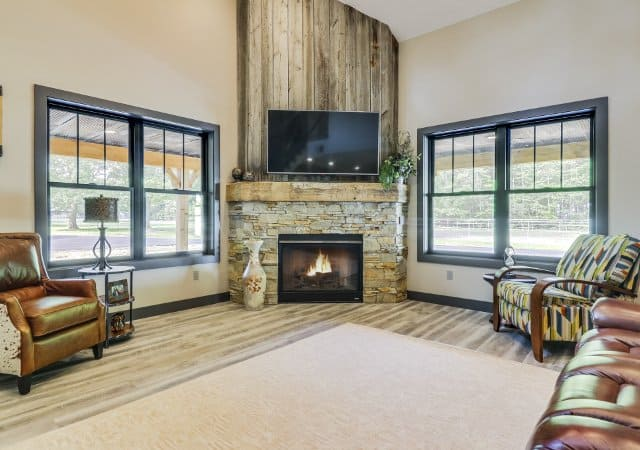 Farmhouse Living Room with Fireplace